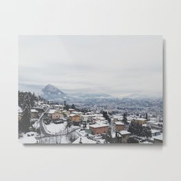Lugano in snow, Switzerland Metal Print