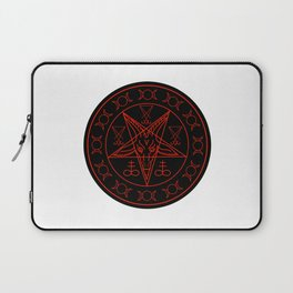 Wiccan symbols- Cross of Sulfur, Triple Goddess, Sigil of Baphomet and Lucifer Laptop Sleeve