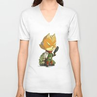 starfox V-neck T-shirts featuring Fox by Rod Perich