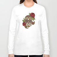 sugar skull Long Sleeve T-shirts featuring Sugar Skull by Valentina Harper