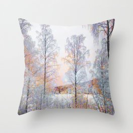 Winter in Norwegian Woods Throw Pillow