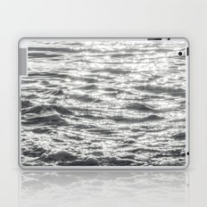 Glittering Early Sunlight Bouncing Off Gentle Waves in Monochrome Black and White Laptop & iPad Skin