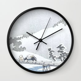 Peasant With Horse and Snowy Mount Fuji - Vintage Japanese Woodblock Print Art Wall Clock