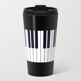 Piano Keys - Black and white simple piano keys pattern minimalistic music themed artwork Travel Mug