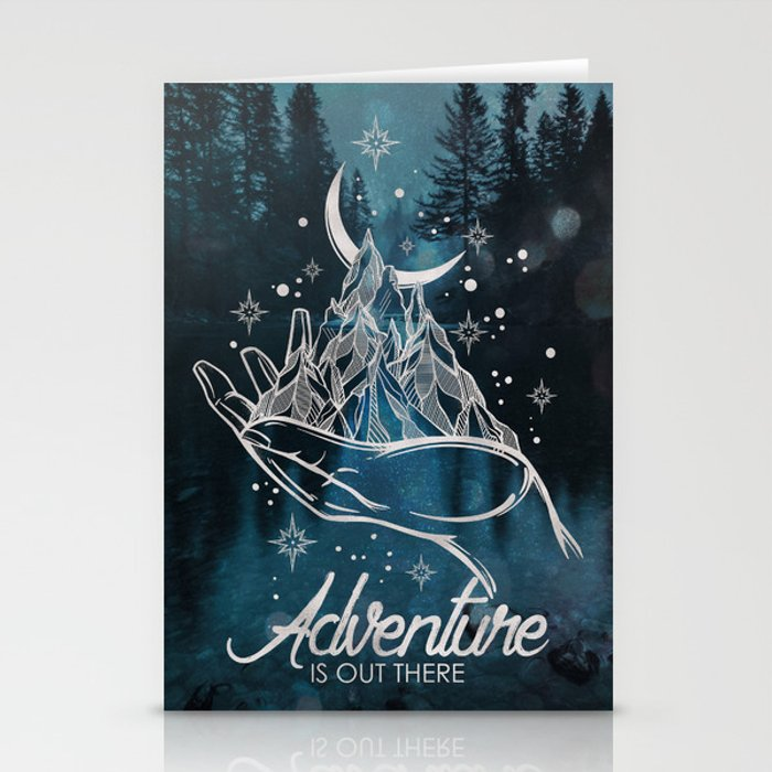 Adventure Is Out There Forest Lake Reflection - Nature Photography Stationery Cards