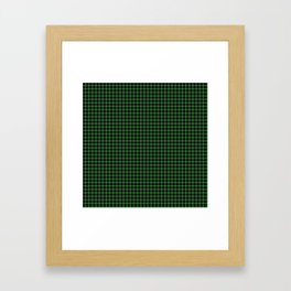 Mini Black and Dark Green Cowboy Buffalo Check Framed Art Print