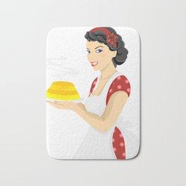 Beautiful woman with cake Bath Mat