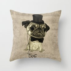 Pug (gentle pug). Throw Pillow