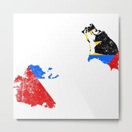 Distressed Antigua and Barbuda Map Metal Print