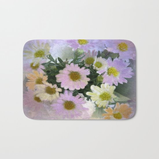 Painterly Spring Pastel Daisies Bath Mat
