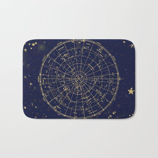 Metallic Gold Vintage Star Map 2 Bath Mat
