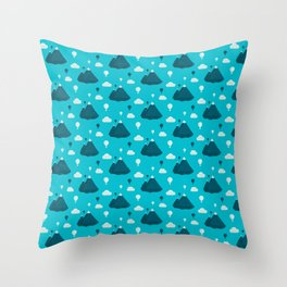 Travel pattern with mountains and baloons Throw Pillow