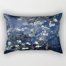 Vincent Van Gogh Almond Blossoms Dark Blue Rectangular Pillow