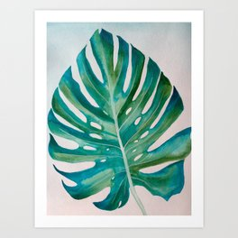 Monstera Leaf Watercolor Art Print