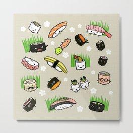 Kawaii Sushi Friends   Cute Assortment of Sushi Rolls, Sashimi, Wasabi, Ginger Metal Print