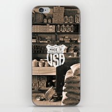 Brown White Made In USA Vintage Photography Print iPhone & iPod Skin