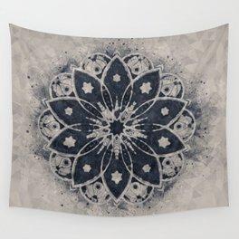 Mandala, Flower, Indigo Blue, Boho Art Wall Tapestry