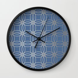 Simply Vintage Link in White Gold Sands and Aegean Blue Wall Clock