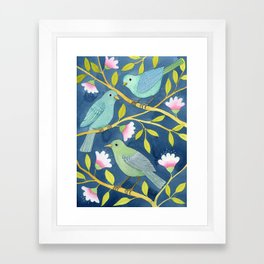 Three birds on indigo Framed Art Print