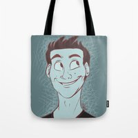 stiles stilinski Tote Bags featuring Stiles by The Art of Nicole