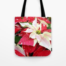 Red and White Poinsettia Tote Bag
