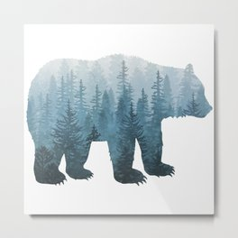 Misty Forest Bear - Turquoise Metal Print