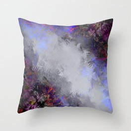 Silver and Burgundy Painted Floral Frame Throw Pillow