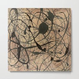 Pollock Inspired Abstract Black On Beige Metal Print