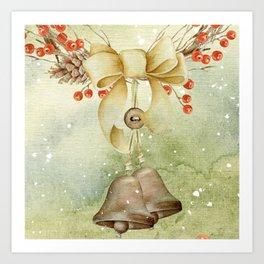 Christmas vintage bell Art Print