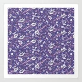 Seashells Sea Shells Underwater Pattern Paper Collage Moody Violet Art Print