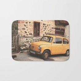 Yellow car vintage Bath Mat