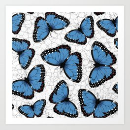 Blue morpho butterflies Art Print