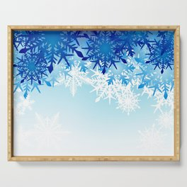 Blue & White Ombre Snowflakes / Winter / Christmas Serving Tray
