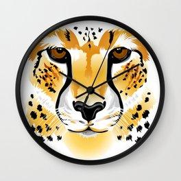 cheetah head close-up illustration Wall Clock