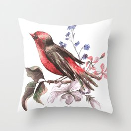 Beautiful bird on a branch with blooming flowers Throw Pillow