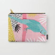Doin' It - blue india ringneck parrot bird art wacka design animal nature retro throwback neon 1980s Carry-All Pouch