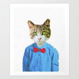 Cute funny cat with blue shirt Art Print