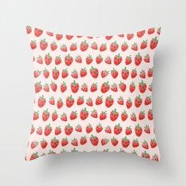 strawberry farm Throw Pillow