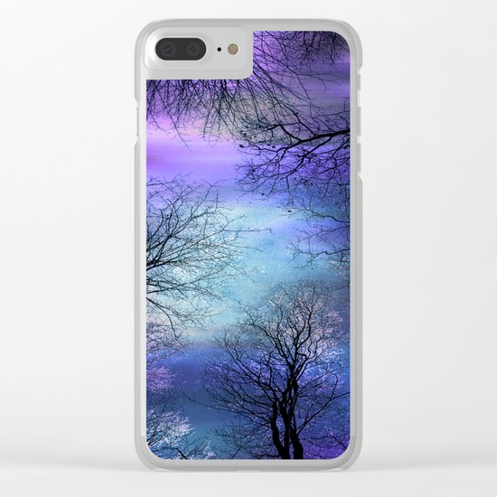 Black Trees Purple Blue Abstract Sky Clear iPhone Case
