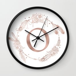 Letter O Rose Gold Pink Initial Monogram Wall Clock