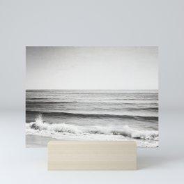 Black and White Ocean Photography, Grey Neutral Seascape Photo, Gray Sea Waves Coastal Picture Mini Art Print