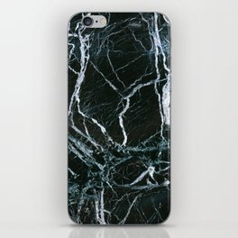 Black Marble With White Ribbons iPhone Skin