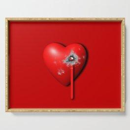 Heart Series Love Bullet Holes Love Valentine Anniversary Birthday Romance Sexy Red Hearts Valentine Serving Tray