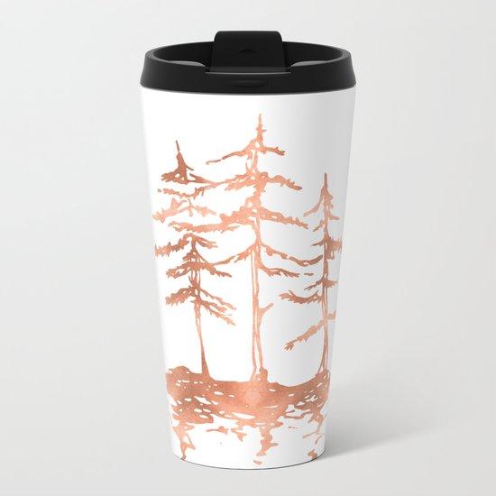Three Sisters Trees Rose Gold on White Metal Travel Mug