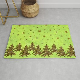 Sparkly Christmas tree, stars, moon on abstract green paper Rug
