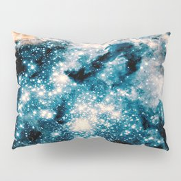 Nebula Galaxy Teal Peach Pillow Sham