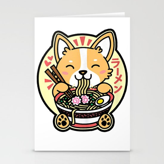 Kawaii Ramen Cute Anime Dog Corgi Japanese Noodles by duythetees