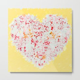 pink and red heart shape with yellow background Metal Print