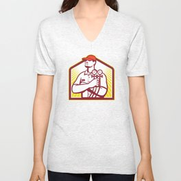Heating and Cooling Refrigeration Technician Retro Unisex V-Neck