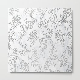 Modern silver floral pattern illustration on white marble Metal Print